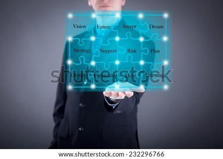 Businessman pushing a button on digital vurtual screen      - stock photo