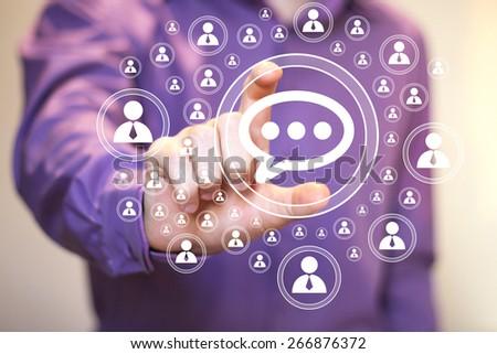 Businessman pushing button icon cloud web - stock photo