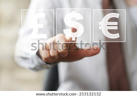 Businessman pushing button with dollar currency web