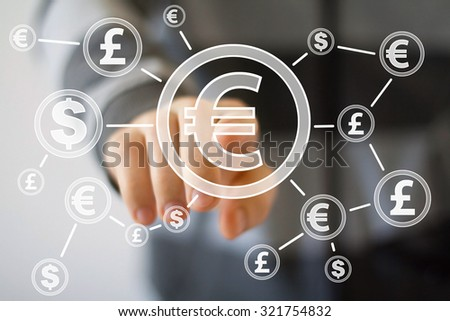 Businessman pushing button with eur dollar currency web - stock photo