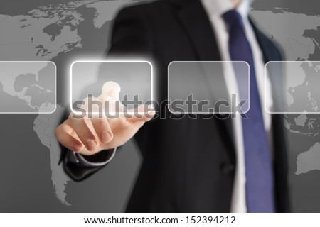 Businessman pushing empty copyspace button with touch screen technology with a world map background for stock exchange concept - stock photo