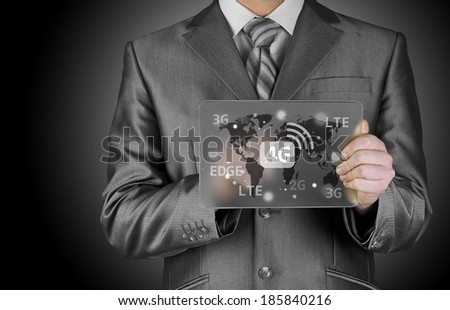 Businessman pushing 4g - stock photo