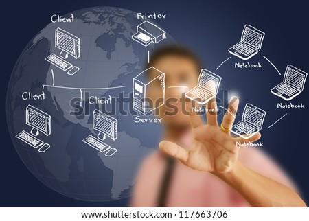 Businessman pushing LAN Network diagram on the Touchscreen Interface. - stock photo