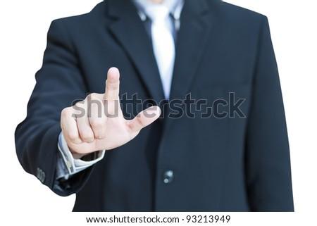 Businessman pushing on the whiteboard - stock photo