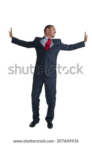 businessman pushing outwards isolated on a white background - stock photo