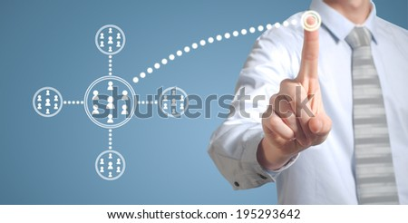 Businessman pushing pressing computer technology social network or networking button - stock photo
