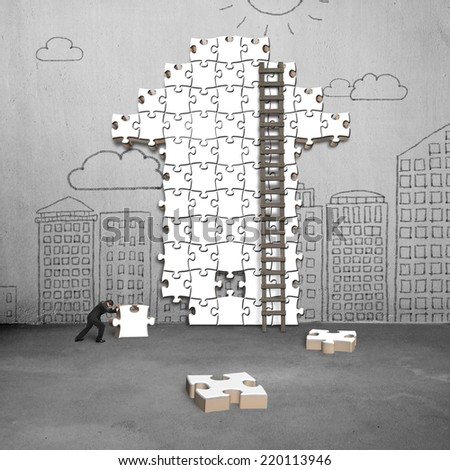 businessman pushing puzzle with arrow shape on doodles wall - stock photo