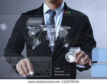 Businessman pushing  social network structure - stock photo