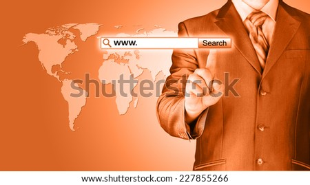 Businessman pushing virtual search bar - stock photo