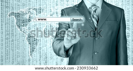 Businessman pushing virtual search bar