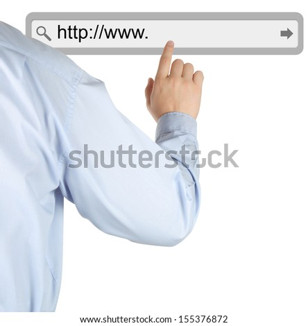 Businessman pushing virtual search bar on white background, internet concept   - stock photo