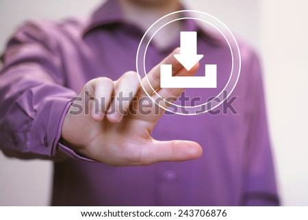 Businessman pushing web button download icon - stock photo