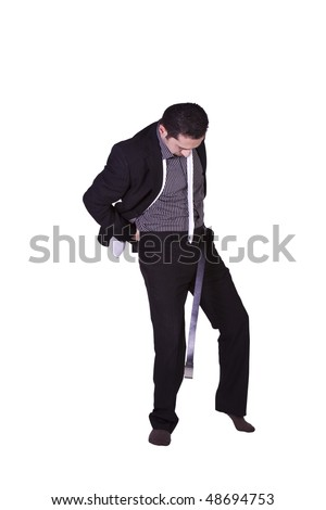 Businessman Putting His Belt On Getting Ready - Isolated Background