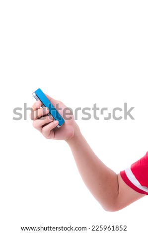 Businessman putting touch screen mobile phone - stock photo