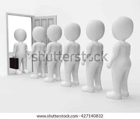 Businessman Queue Showing Occupation Worker And Illustration 3d Rendering