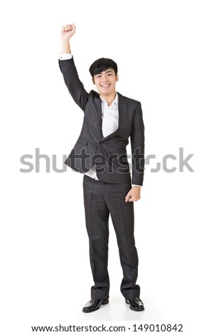 Businessman raise hand and be a  volunteer, full length portrait isolated on white background. - stock photo