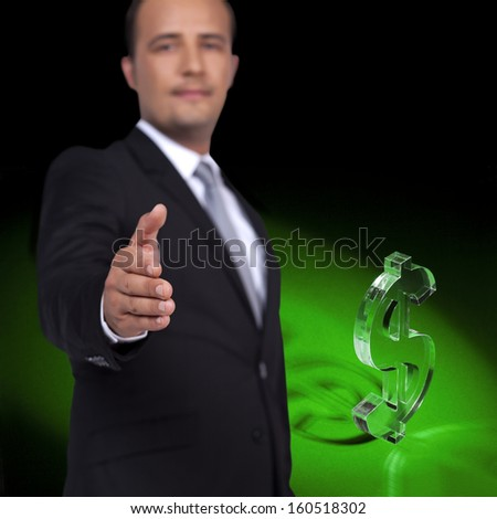 Businessman reach out a hand to deal front of the Dollar - stock photo