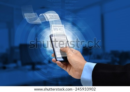 Businessman reading business or financial report on smart phone concept via internet connection - stock photo