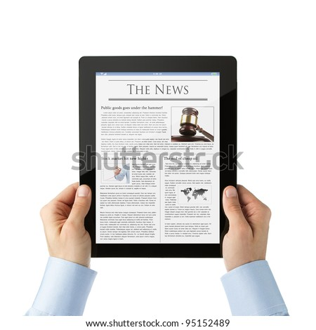 Businessman reading news at digital tablet - stock photo