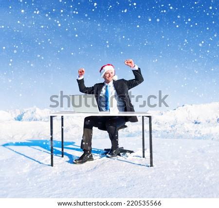 Businessman ready for holiday season. - stock photo