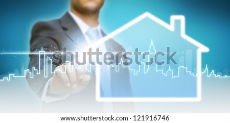 Businessman real estate concept - stock photo