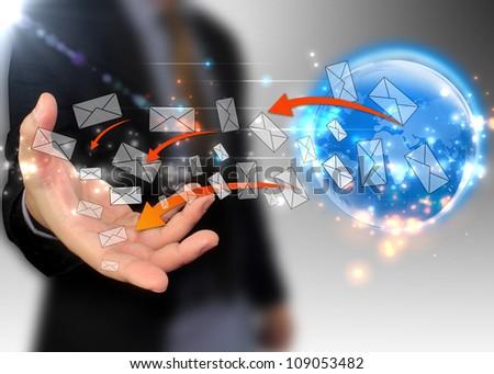 businessman receive message - stock photo