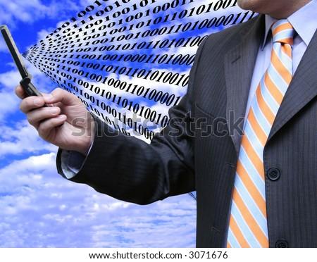 Businessman receiving data - stock photo
