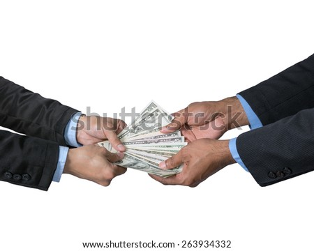 Businessman receiving the money offered by businessman on white background,include clipping path - stock photo