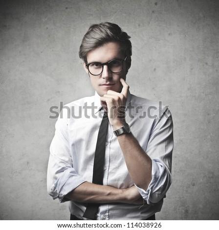 Businessman reflecting - stock photo