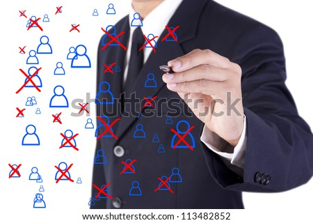 businessman rejection person from large group