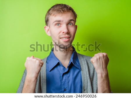 Businessman rejoicing for his success - stock photo