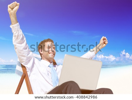 Businessman Relaxing on the Beach Concept - stock photo