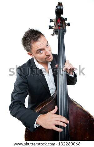 Businessman Relaxing While Playing Contra bass. - stock photo