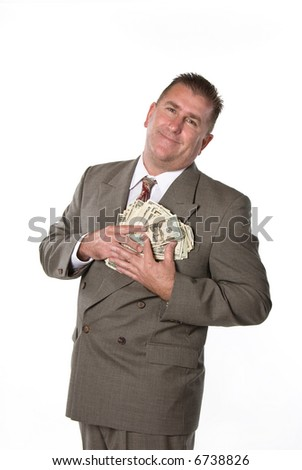 Businessman responds in joy after receiving cash for a job well done. - stock photo
