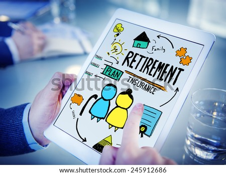 Businessman Retirement Occupation Digital Devices Technology Working Concept - stock photo