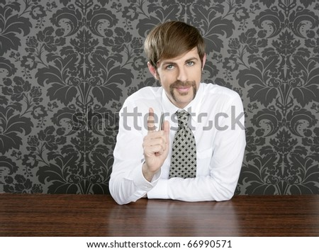 businessman retro on office table salesperson vintage wallpaper - stock photo