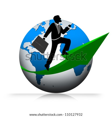 Businessman Ride The Arrow Pointing Up Direction From The Globe Isolated on White Background