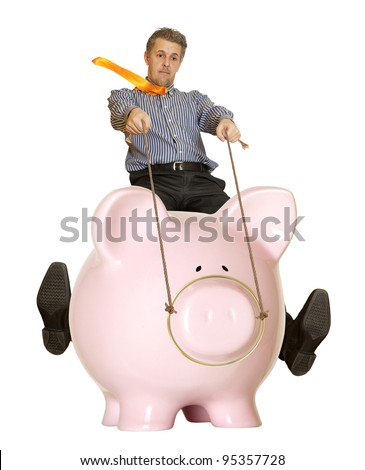 Businessman riding a piggy bank. Concept