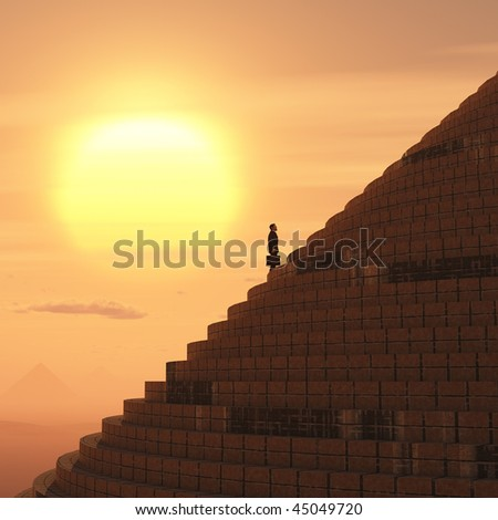 businessman rising on staircase - stock photo