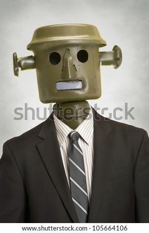 Businessman robot portrait automation concept - stock photo