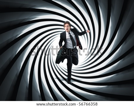 businessman run in 3d gun pipe - stock photo