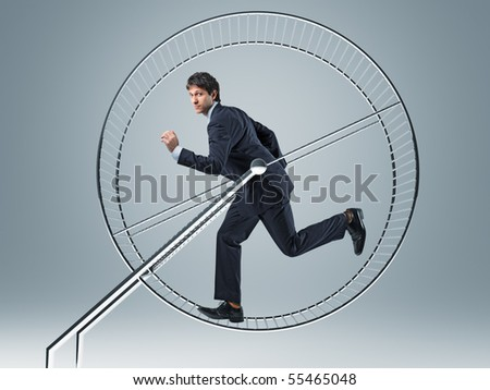 businessman run in 3d hamster wheele - stock photo