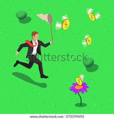 Businessman running after flying dollars with scoop-net. Isometric money catching business concept web infographics  illustration.  - stock photo