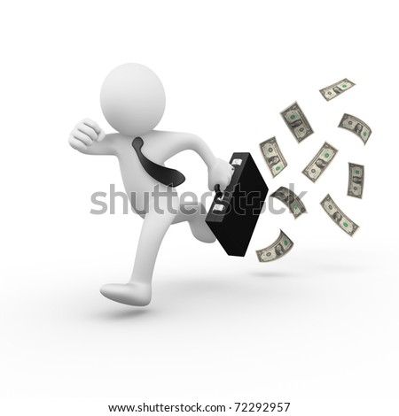 Businessman running and losing money / cash