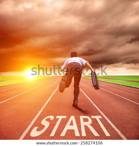 businessman running for race on the track - stock photo