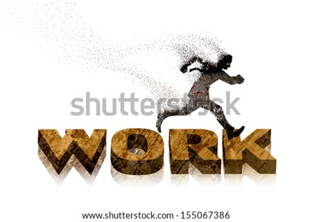 businessman running for work so hard while  losing his life energy, business concept - stock photo