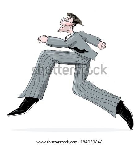 Businessman Running Illustration; Running Man In a Suit Freehand drawing - stock photo