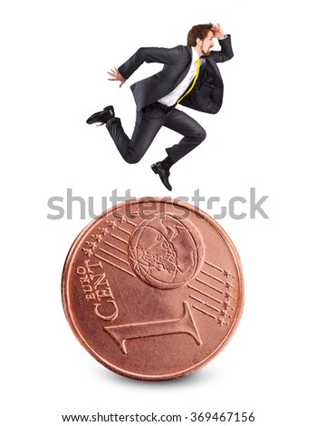 Businessman running on the euro coin and look forward - stock photo