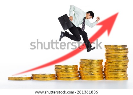 Businessman running up for speed his investment and growth money  - stock photo