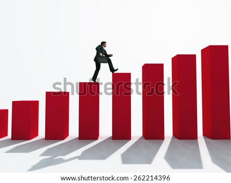businessman running up the stairs - stock photo